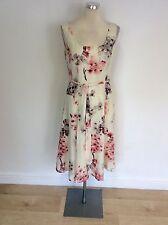 LAURA ASHLEY WHITE PINK & GREY FLORAL PRINT COTTON & SILK DRESS SIZE 10