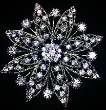 USA BROOCH PIN Rhinestone Crystal Gemstone Bridal Wedding Queen Cake Silver 2