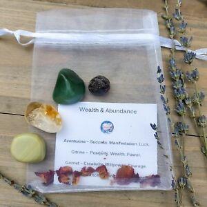 Wealth & Abundance Money Crystal Gift Set. Aventurine Citrine Garnet Jade Pouch