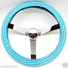Handmade Steering Wheel Cover Azure Blue Ocean Waves