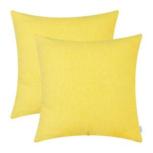 2Pcs Bright Yellow Dyed Soft Chenille Cushion Covers Shells Sofa Home Decor 40cm