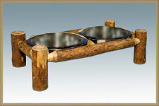 Wooden Feeding Bowls Larger Dogs Rustic Pet Dish Set Amish Hand Made Log Style