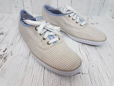 KEDS White and Beige Striped Blue Fashion Sneaker Size 9 EUR 40