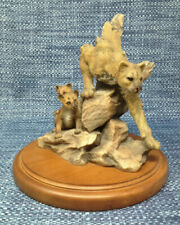 Maternal Refuge Mill Creek Studios 4052 Cougar and Cubs Sculpture Signed