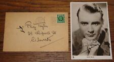 JOHN MILLS SIGNED PUBLICITY POSTCARD 1936 WITH ENVELOPE UACC REGISTERED DEALER