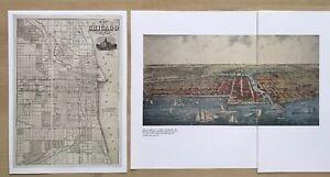 2 x Old Antique vintage historical maps 1800s: Chicago, USA Reprint 1857, 1892c