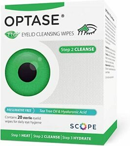 Optase TTO Lid Wipes - 20 wipes