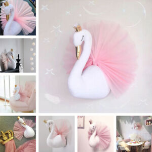 3D Gold Crown Swan Doll Stuffed Toy Animal Head Wall Hanging Wall Art Home Decor