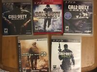Lot of 5 Call Of Duty PS3 World at War, Modern Warfare 2 and 3, Black Ops, Ghost