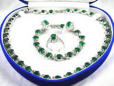 Necklace Bracelet Ring Earrings Set Green Cubic Zirconia 18Kwgp Crystal Women