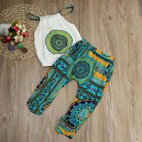 2pcs Toddler Kids Baby Girl Shirt Tops+Pants Summer Beach Outfits Clothes Set KW
