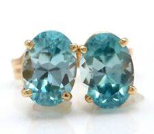 2.74 Carat Natural Blue Zircon in 14K Solid Yellow Gold Stud Earrings