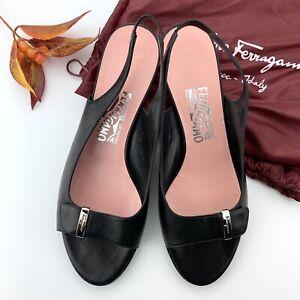 NEW! Salvatore Ferragamo Bow Style Slingback Black Heel Kitten Pumps Size 8.5