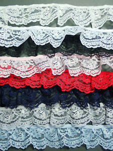 """The Place For Lace - 5 METRES  Pretty Gathered Lace Trim 1.5""""/4cm Choose Colour"""