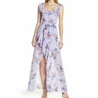 Ali & Jay Lilac Sure Thing Maxi Floral Dress Size Large - New Ruffles V- neck