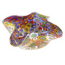 GlassOfVenice Murano Glass Golden Quilt Millefiori Decorative Bowl