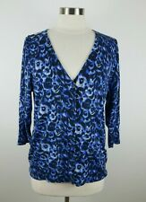 Talbots Womens Italian Merino Wool 3/4 Sleeve Navy Abstract Cardigan Sweater PXL