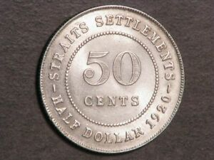STRAITS SETTLEMENTS 1920 50 Cents Silver AU-Unc