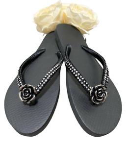 Sandals Women's Size 7/8 Flip Flop Black HANDMADE Rhinestone Flower Pendant