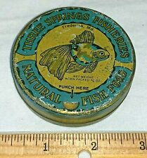 ANTIQUE THREE SPRINGS FISHERIES FISH FOOD TIN LITHO PET VET CAN FREDERICK MD OLD