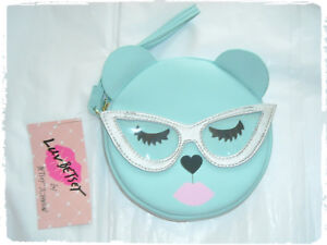 Luv Betsey Johnson Mint Ice Blue Sleepy Bear Cat Eye Glasses Wristlet Coin Purse
