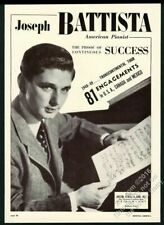 1949 Joseph Battista photo piano recital tour booking trade ad