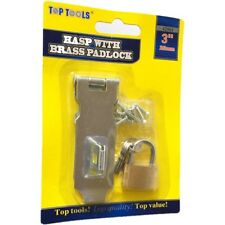 """3""""  Safety Hasp and Staple Gate Door Shed Latch Lock Box Chest + Brass Padlock"""
