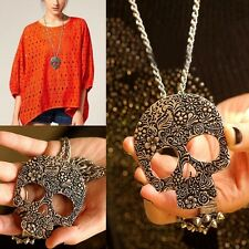 Punk Rock Long Chain Bronze Vintage Jewelry Gothic Skull Pendant Necklace