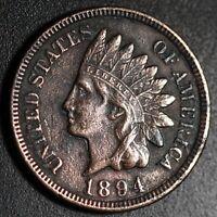 1894 INDIAN HEAD CENT -With LIBERTY & Near 4 DIAMONDS - AU UNC Details