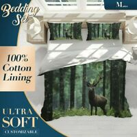 Deer Trees Wild Animal Green Quilt Cover Doona Duvet Cover w 2 Pillowcases