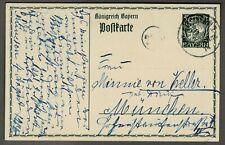 GANZSACHEN-POSTKARTE BAYERN 5 Pf., gelaufen 1914