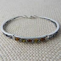 Genuine Multi-Color BALTIC AMBER Bangle in solid 925 STERLING SILVER #0044
