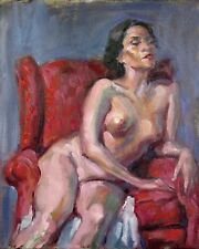 """Nude in a Red Chair #2- original 8x10"""" art oil painting by artist Melissa Grimes"""