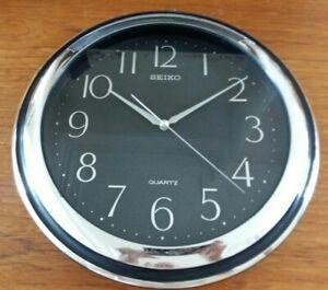 Seiko Black/Silver Kitchen Wall Clock (Used) 29cm