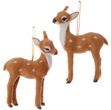 "Raz Imports 4.5"" Christmas Brown Fawn Deer Ornament~Set of 2~Reindeer Figurine"