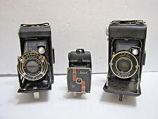 Lot of 4 Vintage Antique Folding Film Bellows Cameras Kodak Vollenda Univex Deco