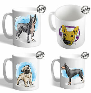 Personalised illustrated Bull Dog Mug Coaster. Customise with your own text.FOC
