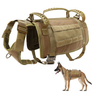 No Pull K9 Dog Tactical Harness Military Molle Training Vest Soft Mesh Padded