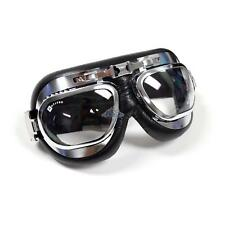 Classic Pilot Aviator Bubble Lens Motorcycle Goggles Chrome Black Leather
