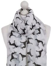 Italienische WINDHUND Schal Frauen Damen weiß Hund Print Mode Geschenke QUALITÄT...