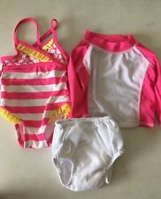Baby Girls Pink Swimsuit Swim shirt W Reusable Swim Diaper 6-12 Months