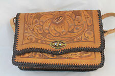 VINTAGE Handmade Carved Tooled Leather Purse with mirror