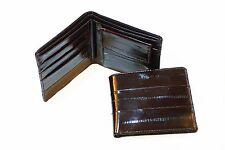 Genuine Eel Skin Leather - Bifold Billfold Wallet with Coin Pocket / Dark Brown