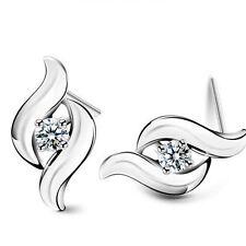 Korean Style Hot Women Retro Earrings Ear Studs Rhinestone Silver Plated