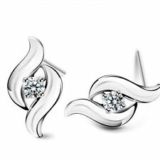 Retro Korean Style Fashion Crystal Earrings Silver Plated Ear Studs Rhinestone