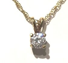 Diamond Solitaire Pendant and Chain 14K Yellow Gold .30ct