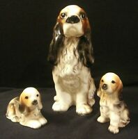 Vintage Made in Japan Ceramic Mother Spaniel Dog & 2 Puppies Excellent Condition