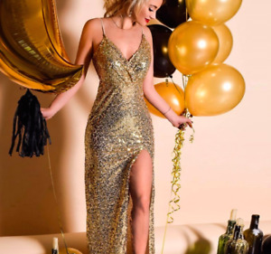 Australian BRAND NEW Sequin Gold Formal Prom Party Cocktail Maxi Slit Dress