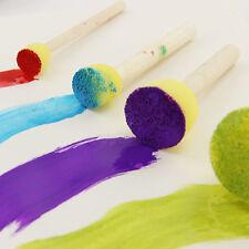 4 Pcs Yellow Wooden Handle Education Toy Painting Graffiti Round Sponge Brush