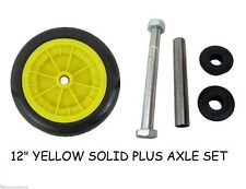 "12"" YELLOW SOLID WHEELBARROW / WHEEL BARROW WHEEL / TYRE  PUNCTURE PROOF + AXLE"